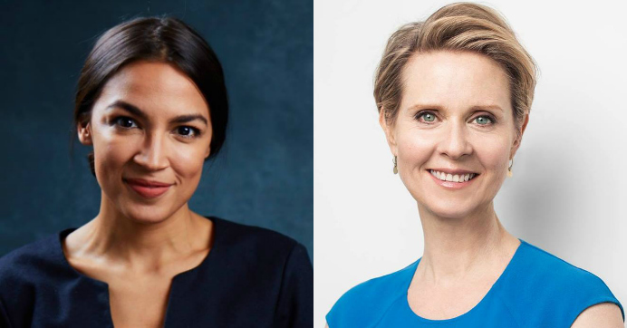 New York congressional candidate Alexandria Ocasio-Cortez, left, and gubernatorial candidate Cynthia Nixon, right, endorsed each other on Monday. (Photos: Jesse Korman/Ocasio 2018/Facebook and Cynthia Nixon for New York/Facebook)