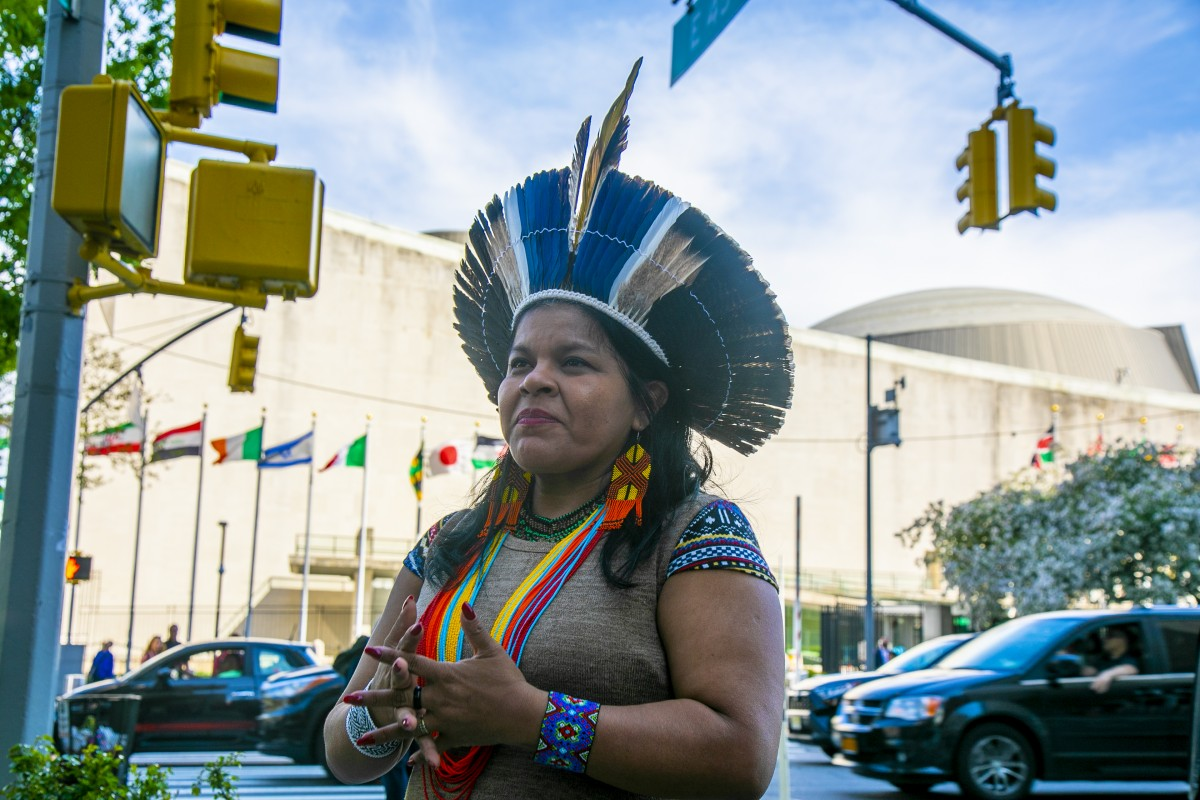 Sônia Bone Guajajara outside of the United Nations in New York City. Guajajara travelled to New York for the UN Permanent Forum on Indigenous Issues as part of a WECAN International delegation to advocate for Indigenous rights and protection of the Amazon rainforest. (Photo: Teena Pugliese/WECAN International)