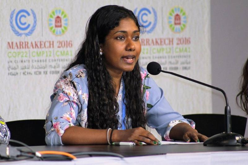 Thilmeeza Hussain speaks during a WECAN International event at the UNFCCC COP22 in Marrakech, Morocco. (Photo: WECAN International)