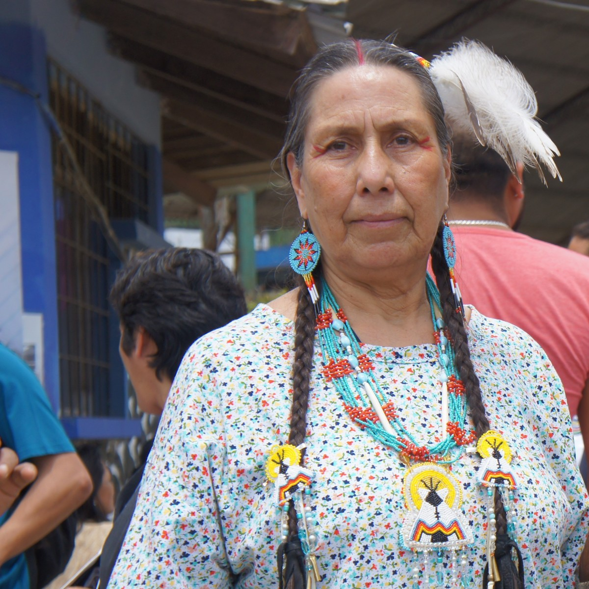 Casey Camp-Horinek joins Indigenous women leaders in Ecuador during an International Women's Day March. (Photo: Emily Arasim/WECAN International)