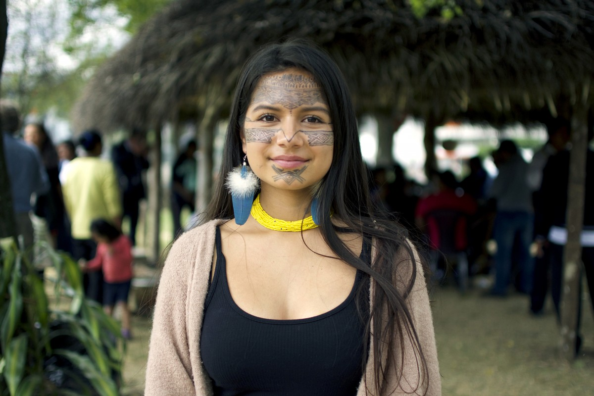 Helena Gualinga at the launch of the historic Kawsak Sacha 'Living Forest' Declaration by her community of the Kichwa Pueblo of Sarayaku in the Ecuadorian Amazon. The ultimate goal of the Kawsak Sacha Declaration is to protect Indigenous lands and recognize the inseparable physical and spiritual relationship between the Peoples of the Living Forest, and all of the beings that inhabit and compose it. (Photo: Sophie Pincetti for WECAN International)
