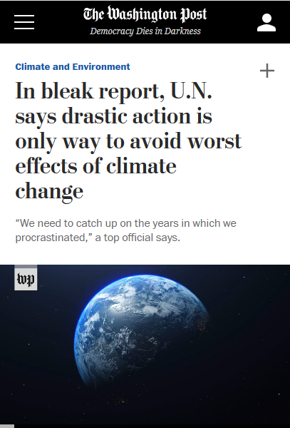 "Debate moderators do not act like they live on a planet where ""rapid, unprecedented cuts in greenhouse gas emissions"" are necessary to avoid ""widespread, catastrophic effects"" (Washington Post, 11/26/19)."