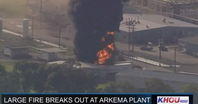 A screengrab from KHOU video shows smoke rising Friday at the Arkema chemical plant in Crosby, Texas.
