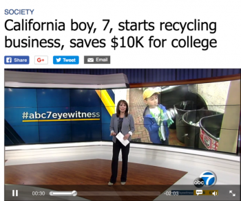 California boy saves $10K for college.