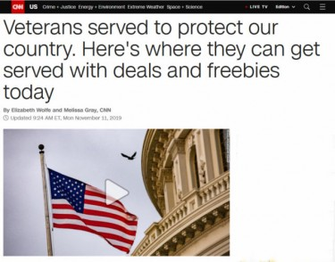 "CNN (11/11/19) offered vets a guide to ""deals and freebies."""