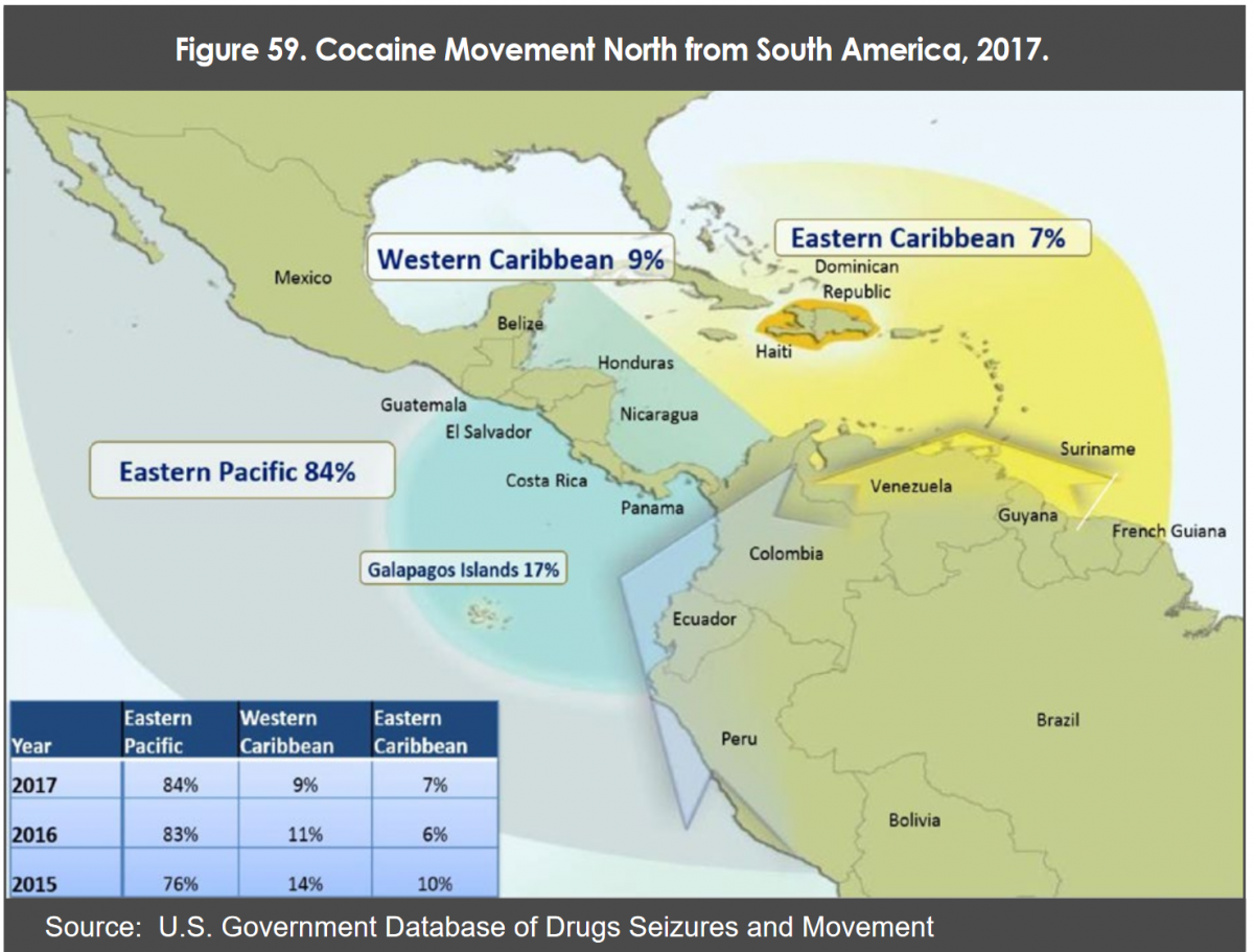 Cocaine movement north from South America, 2017