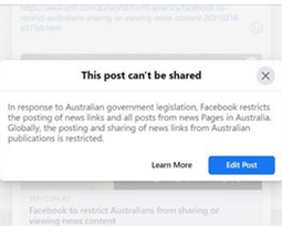 A message U.S.-based Facebook users received Thursday when attempting to share an article from the Sydney Morning Herald. (Screengrab)