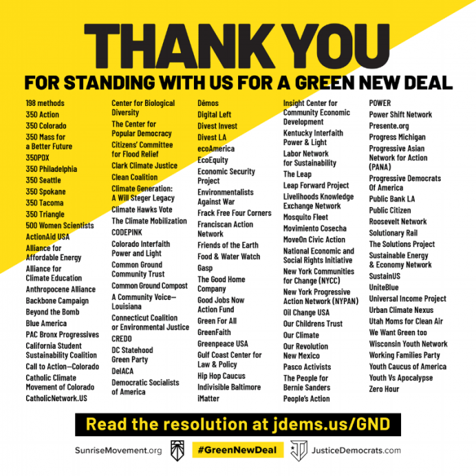 Organizations endorsing the Green New Deal