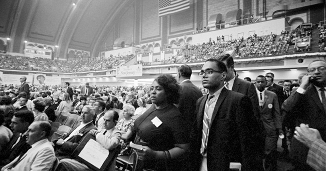 Fannie Lou Hamer and Bob Moses at the 1964 Democratic National Convention in Atlantic City.