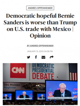 """Sanders is """"worse than Trump"""" (Miami Herald, 1/15/20) because he doesn't believe the projections of the US International Trade Commission—which economist Dean Baker said """"made a conscious decision to go against standard practice in the economics profession"""" to make NAFTA 2.0 look good (Beat the Press, 4/25/19)."""