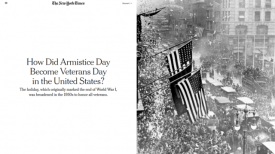 "The New York Times (11/10/19) said that Armistice Day was ""broadened"" when it stopped being a celebration of peace."