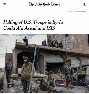 "A New York Times headline (10/7/19) described the redeployment of troops within Syria as the ""Pulling of US Troops""—helping to spread the misimpression that troops were being pulled out."