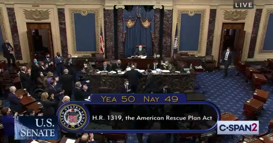 A screengrab from C-Span shows the chamber immediately following the vote on the Democrats' coronavirus rescue package.