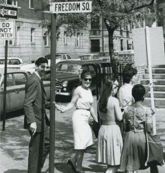 Howard and Roz Zinn at a SNCC demonstration in Cambridge.