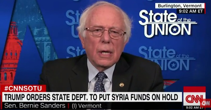 "U.S. Sen. Bernie Sanders (I-Vt.) speaking Sunday to CNN's ""State of the Union."" (Image: screengrab)"