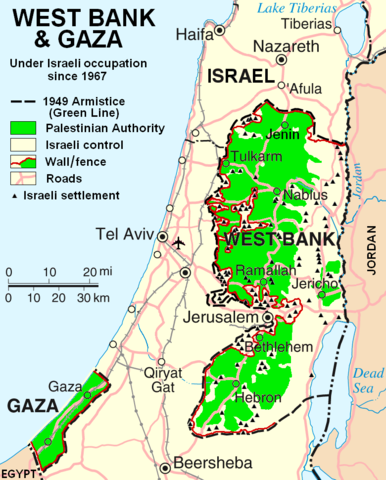 Map showing the occupied West Bank and Gaza