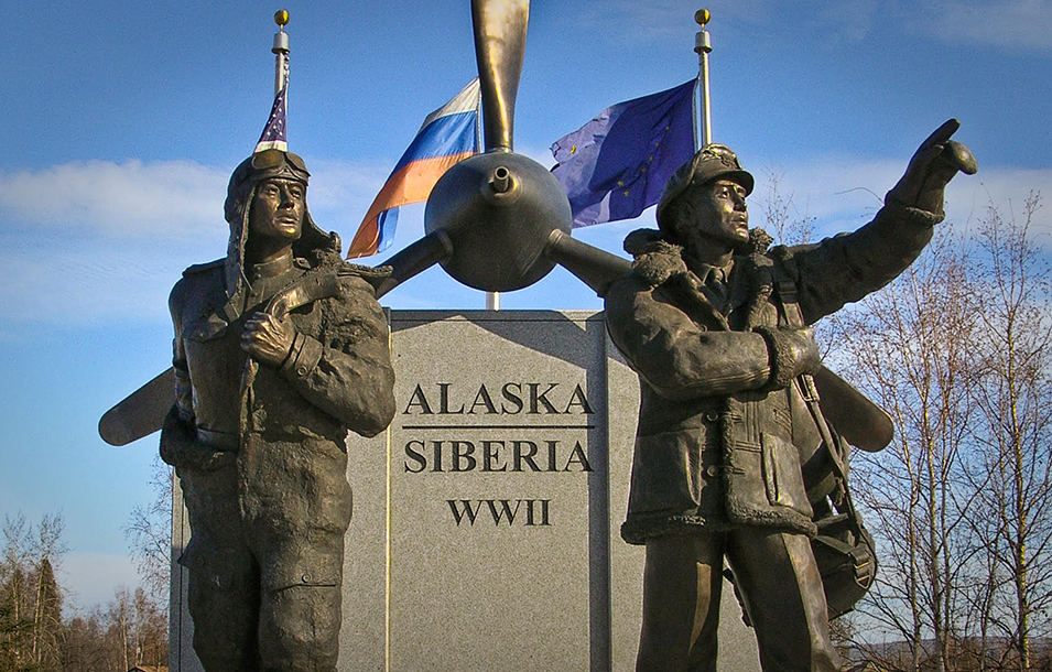Monument in Fairbanks, Alaska to American and Russian pilots