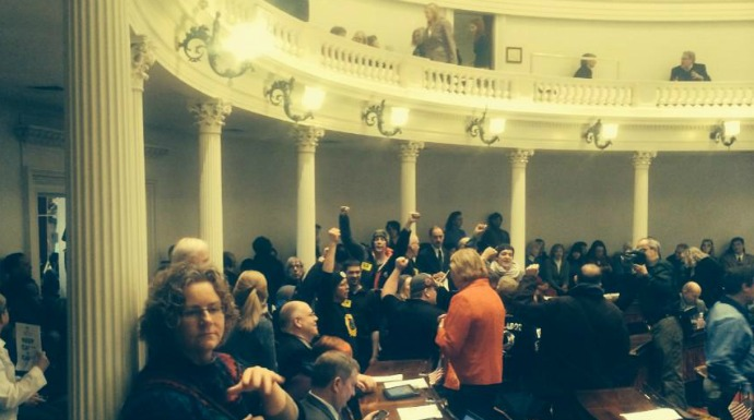 Protesters flooded the Vermont statehouse on Thursday. (Photo courtesy of Jonathan Leavitt)