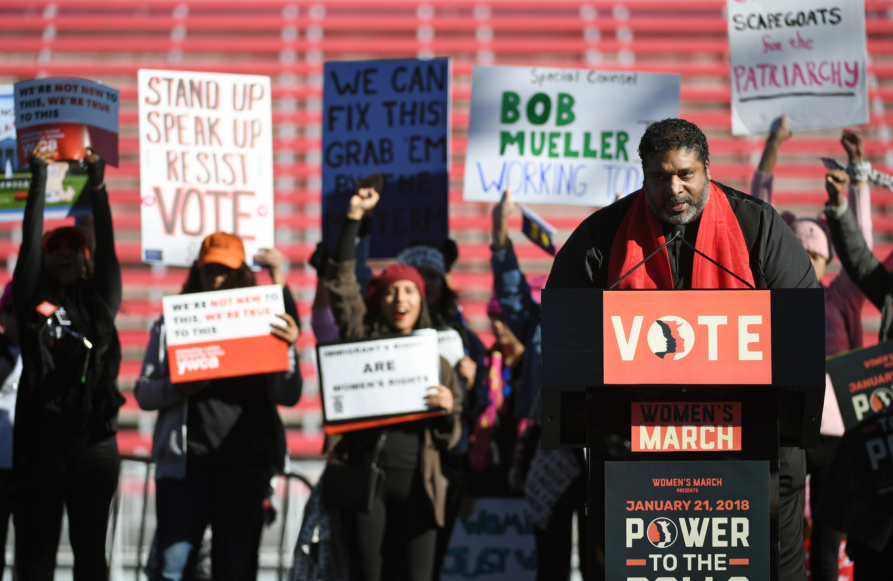 Civil rights activist the Rev. William Barber III speaks during the Women's March 'Power to the Polls' voter registration tour launch at Sam Boyd Stadium on January 21, 2018 in Las Vegas, Nevada. (Photo: Ethan Miller/Getty Images)