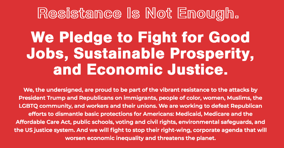 Over 90 well-known veterans of the successful 2018 campaign have signed a bold new Pledge to Fight for Good Jobs, Sustainable Prosperity and Economic Justice. (Image: Campaign for America's Future)