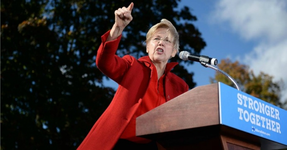 "Sen. Elizabeth Warren (D-Mass.), seen campaigning here for Hillary Clinton, has been identified as the potential ""thorn in chief"" in Clinton's side. (Photo: Getty)"