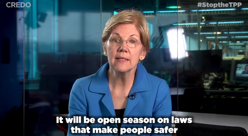 Sen. Elizabeth Warren urging progressive activists to keep pressure on Congress to stop the TPP.  (Screenshot/CREDO)