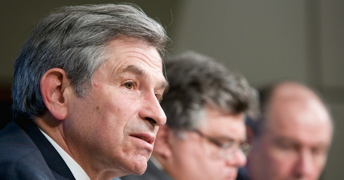 Then-World Bank President Paul Wolfowitz speaking at an IMF meeting in 2007.  (Photo: IMF Staff/Stephen Jaffe/flickr/cc)