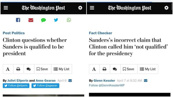 "What a difference a day makes: Washington Post headlines before and after Bernie Sanders calling Hillary Clinton ""unqualified"" became a campaign issue."