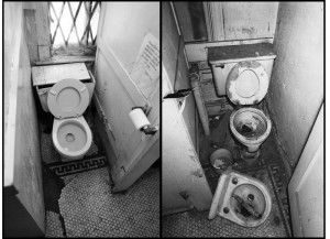 The WRL bathroom in 2016 (left) verses 1969 (right). (WNV / Ed Hedemann and David McReynolds)
